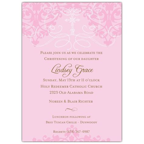 invitations for bridal luncheon fleur pink christening invitations paperstyle