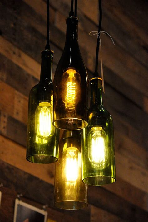 4 light chandelier recycled wine bottle pendant l