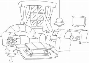 Color living room print and color activities for kids for Living room coloring