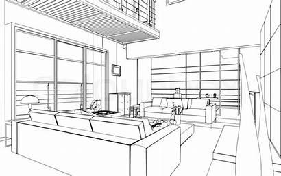 3d Interior Drawing Outline Sketch Illustration Graphical