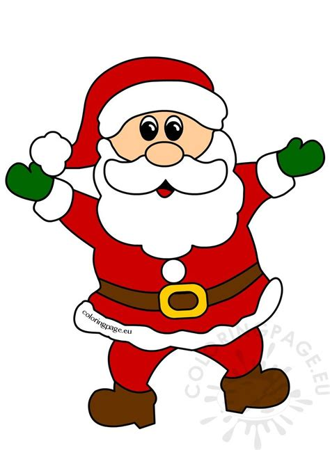 cheerful santa claus christmas clipart coloring page
