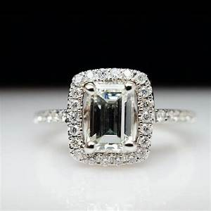 SALE Emerald Engagement Ring Natural Diamond Ring Halo ...