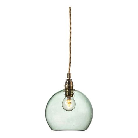 mini glass globe pendant light in forest green transparent