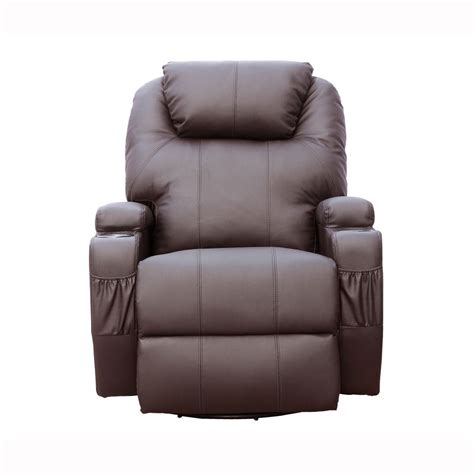 cinemo brown leather recliner chair rocking swivel