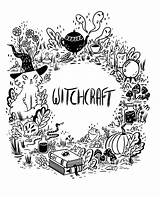 Coloring Witch Witchcraft Wiccan Shadows Borders Ness Books Pagan Gypsy Aesthetic Spells Colouring Magick Wicca Halloween Notebook Dividers Blank Journal sketch template