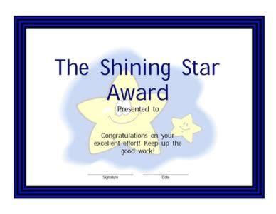 shining star award certificate  certificate templates