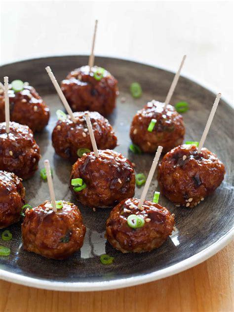 korean style cocktail meatballs appetizer recipe spoon fork bacon