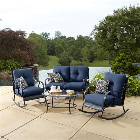la z boy outdoor avery 4pc seating set blue limited
