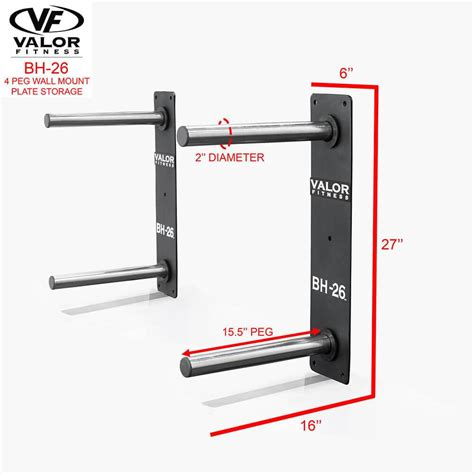 valor fitness bh   peg wall mounted bumper plate storage buy  strength warehouse usa