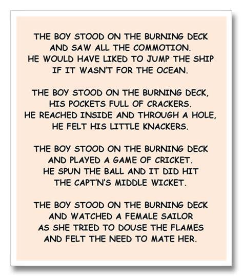 The Boy Stood On The Burning Deck frederick the boy stood on the burning deck