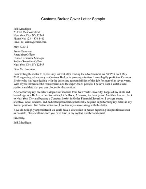 sample cover letter insurance broker
