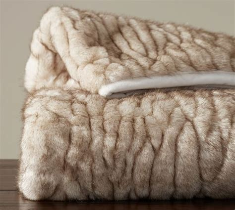 pottery barn fur blanket gathered faux fur throw ivory tipped pottery barn