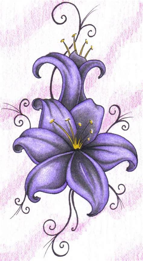 wonderful purple lily tattoo design  paper truetattoos