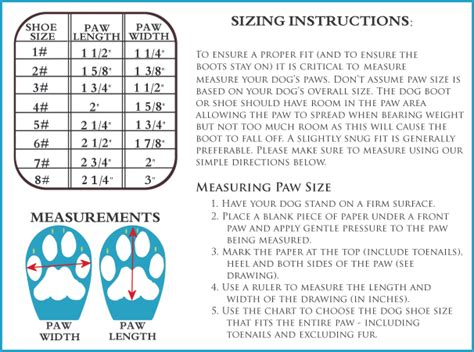 dog boots sizing charts edesign pro company