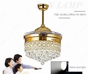 Modern Retractable Ceiling Fans With Lights Led Lamp For