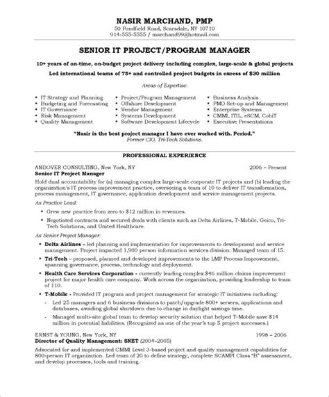Functional Resume It Project Manager by Resume For Project Manager Free Cv Exle