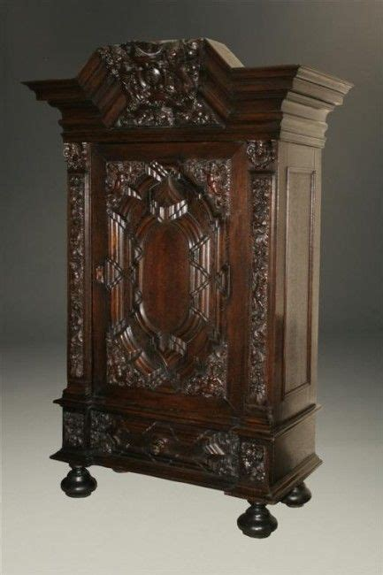 german oak armoire carved great crest  lions