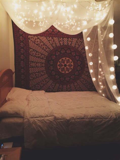 tapestry with lights behind me love pretty lights mine cool hipster room boho