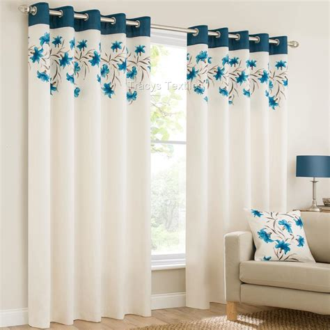 ring top fully lined floral eyelet curtains blk