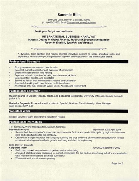Grad Student Resume Exles by International Business International Business Graduate Cv