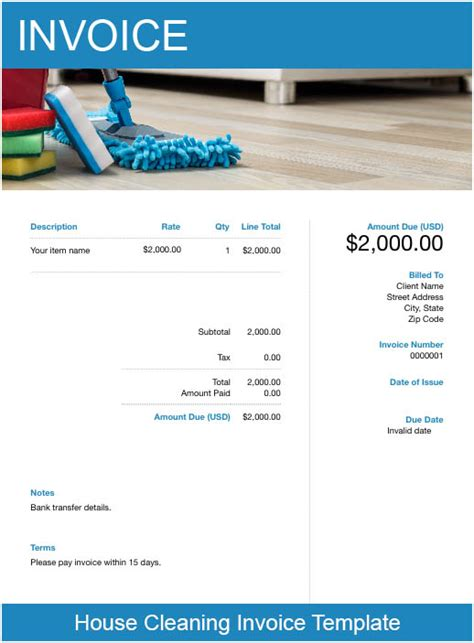cleaning service invoice template   invoice