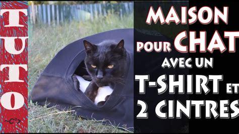 tuto comment faire un igloo pour chat avec un shirt et 2 cintres en fer