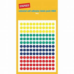 Staples Self Adhesive Labels Circles  Coloured  Package