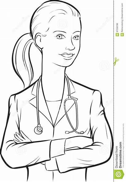 Drawing Smiling Doctor Woman Whiteboard Arms Crossed