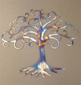 tree of life industrial metal wall art heat tinted 36w