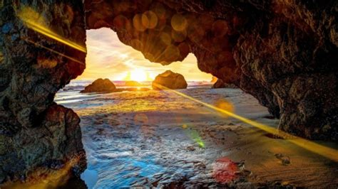 amazing beach cave  sunrise hdr beaches nature