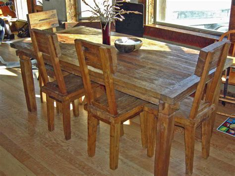 rustic reclaimed teak dining table chairs farmhouse