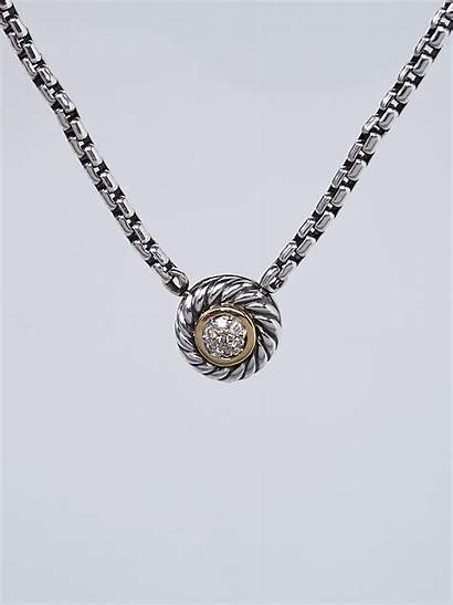 Yurman David Necklace Pendant Diamonds Cookie Silver