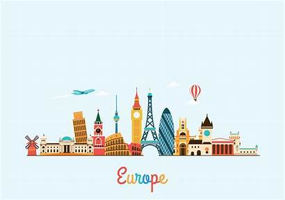 Europe Travel Tourism Background Vector Illustration Skyline