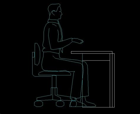man sitting   desk human figure side view elevation