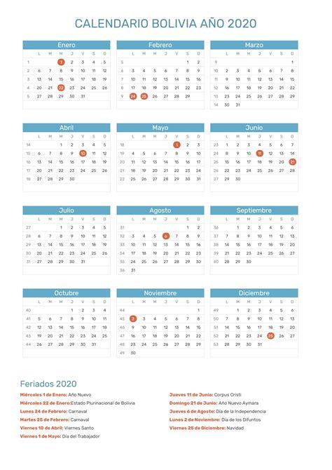 calendario de bolivia ano feriados