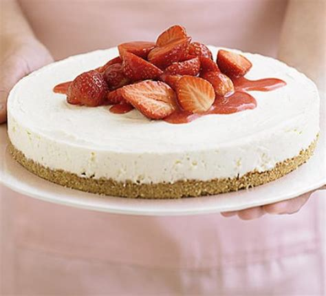 easy cheese cake strawberry cheesecake in 4 easy steps recipe bbc good food