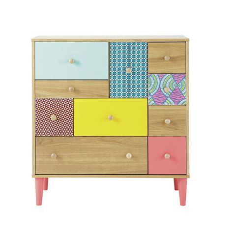 commodes maison du monde cabinet imprim 233 en bois multicolore l 84 cm bamako maisons du monde