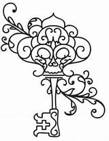 Key Coloring Skeleton Keys Pages Embroidery Tattoos Drawing Outline Designs Lock Colouring Tattoo Adult Giant Urbanthreads Animal Drawings Pattern Steampunk sketch template