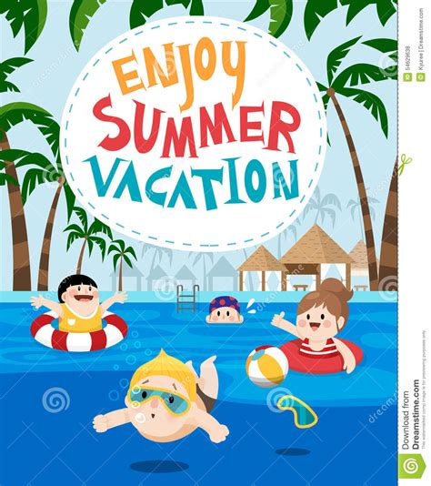 children swimming in a resort for summer vacation stock