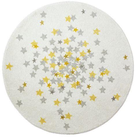 tapis nova rond etoiles grise  jaune chambre bebe par