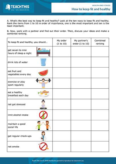 health fitness esl activities worksheets games