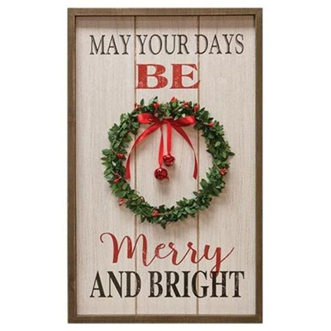 merry  bright wreath sign christmas decorations