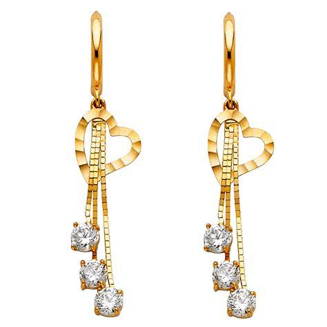 aa jewels  yellow gold cubic zirconia cz dangle huggie endless