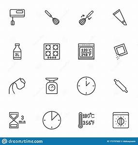 Cooking Instructions Line Icons Set Stock Vector