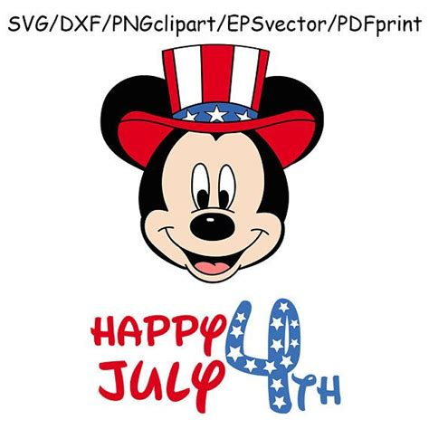 Download free svg files create your diy shirts, decals, and much more using your cricut explore, silhouette and other cutting machines. Mickey Mouse 4th July SVG Clipart Happy 4th July Vector ...