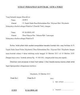 contoh surat perjanjian kontrak rumah toko  kontak
