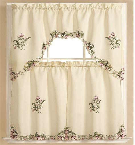 kitchen curtain embroidered  pc applique set  swag