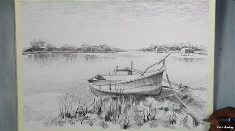Village Boat Drawing by How To Draw A Boat Landscape Step By Step With Pencil