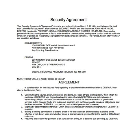 sample security agreement templates  google
