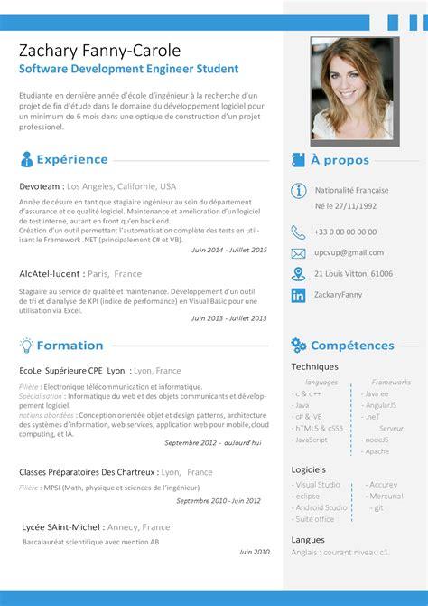 Le Cv by Le Curriculum Vitae Cv Exemple Modele Cv En Francais Word